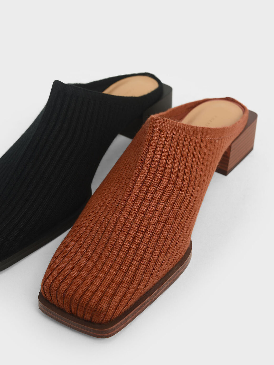 Knitted Mules, Brick, hi-res