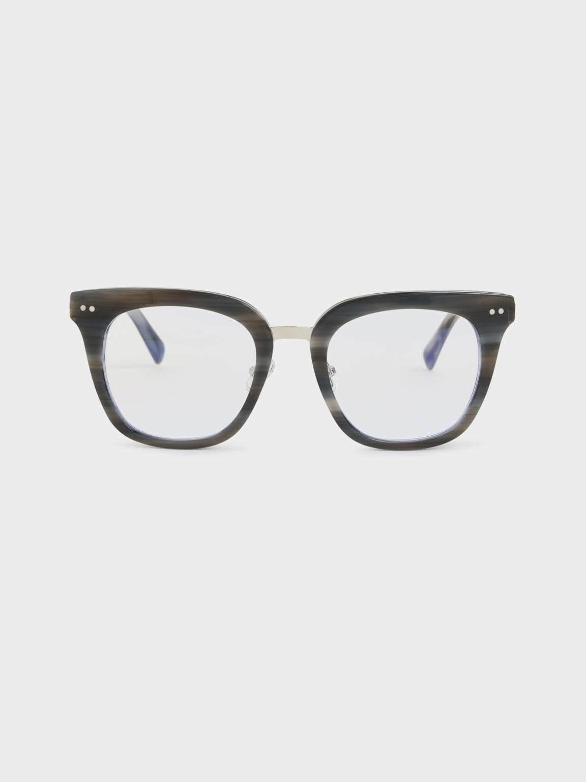 Acetate Square Sunglasses, Grey, hi-res