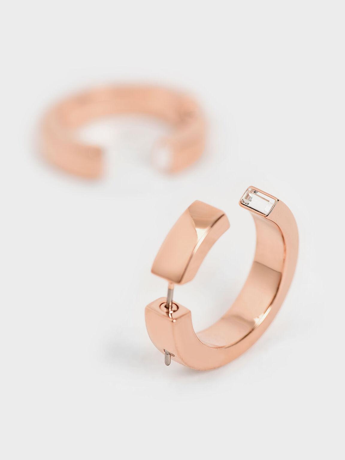 Swarovski® Crystal Hoop Earrings, Rose Gold, hi-res