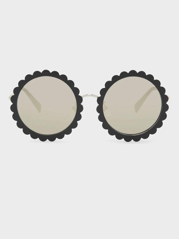 Round Flower Frame Sunglasses, Black, hi-res