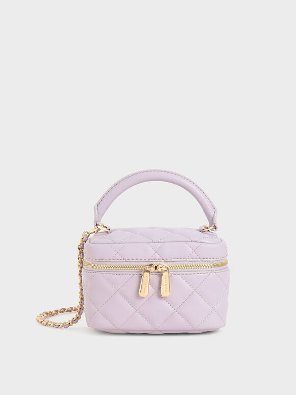 Girls' Two-Way Zip Quilted Bag, Lilac, hi-res
