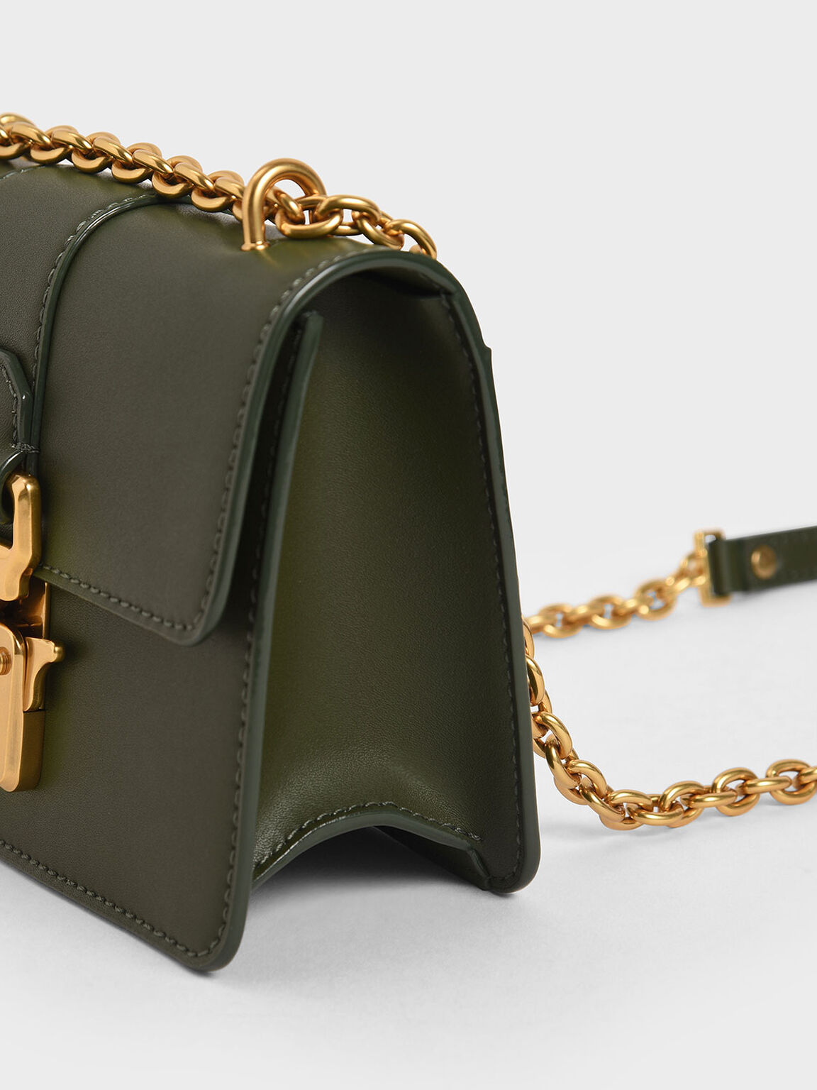 Double Handle Metallic Push-Lock Shoulder Bag, Sage Green, hi-res