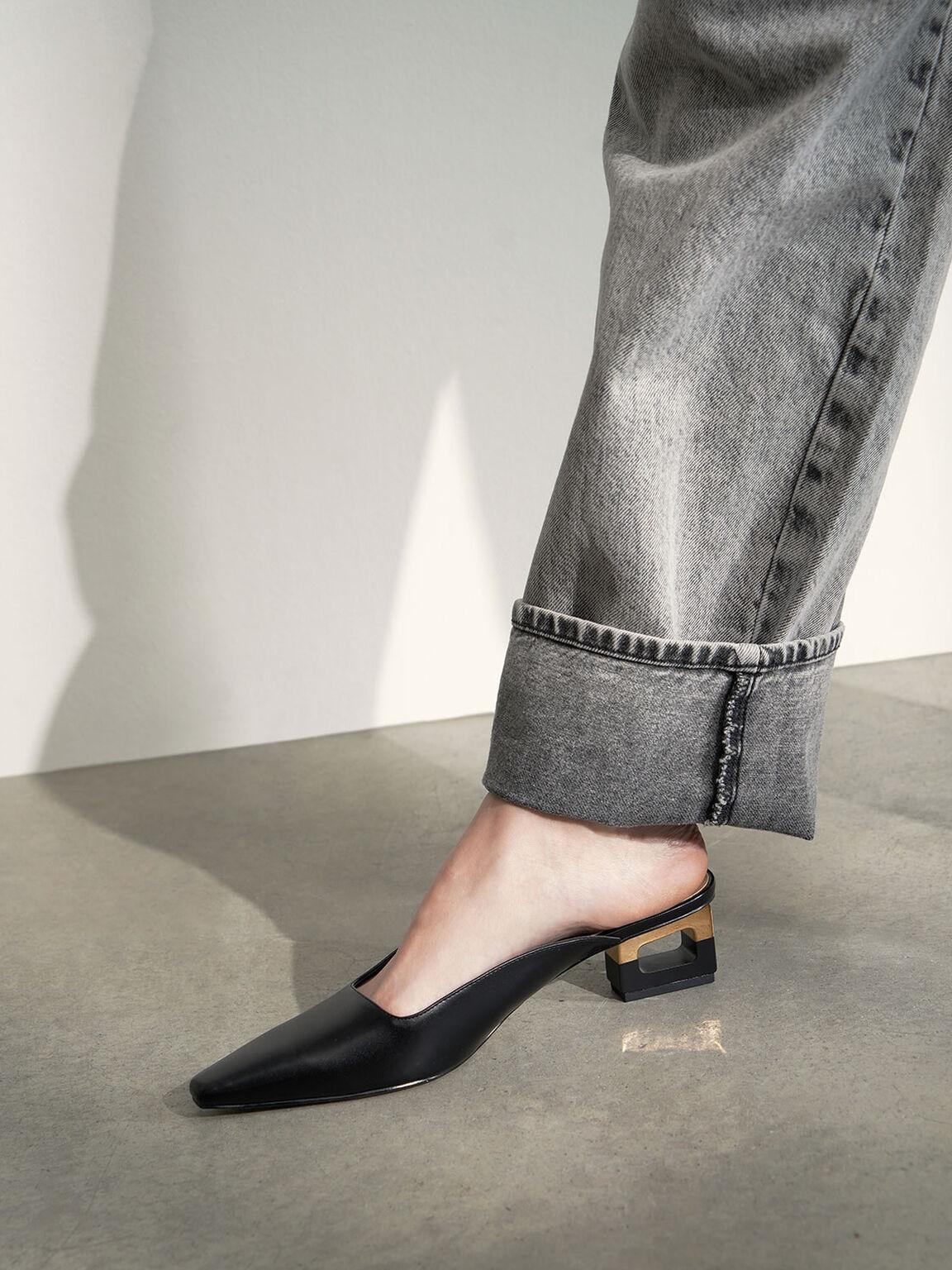Sculptural Chrome Heel Mules, Black, hi-res