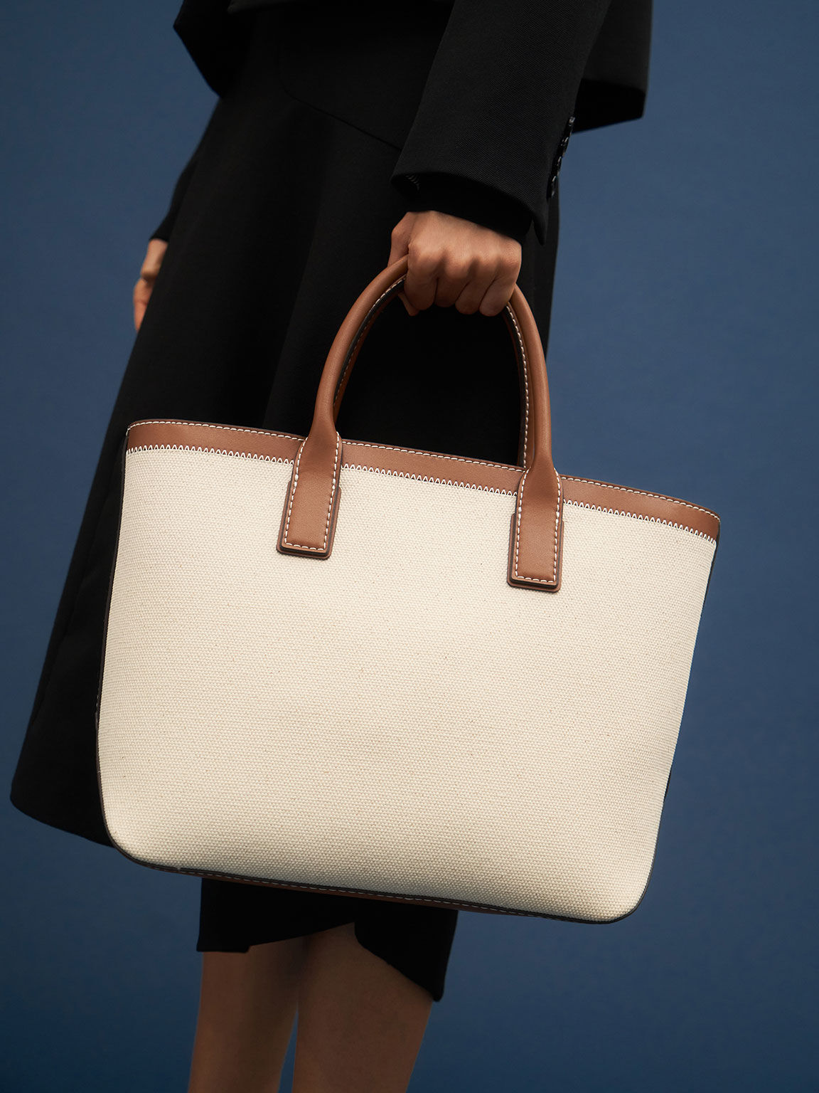 Canvas Double Handle Tote Bag, Ivory, hi-res