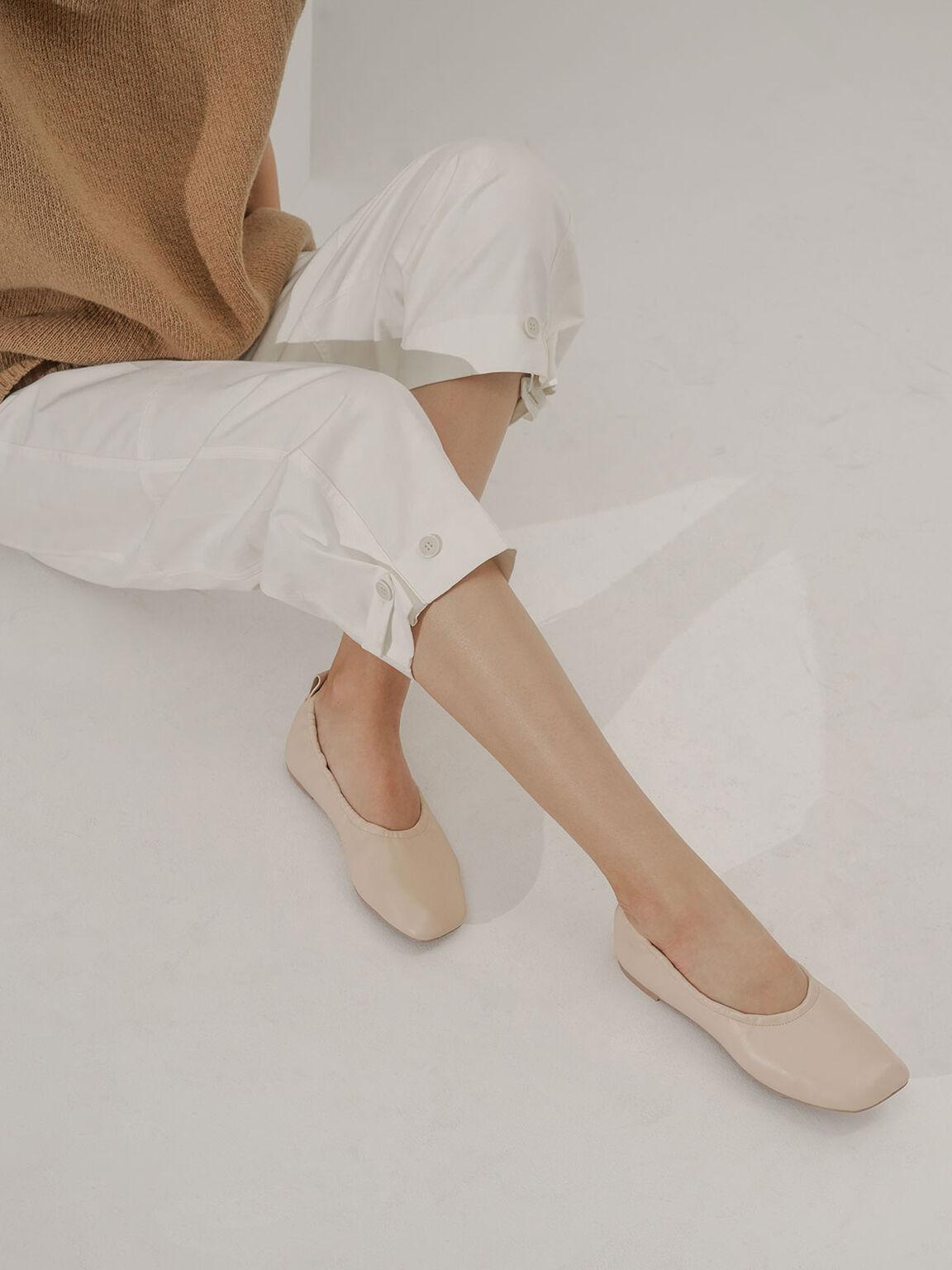Ruched Ballerina Flats, Beige, hi-res