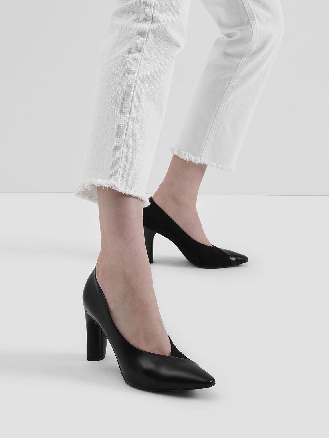 Textured Cylindrical Heel Pumps, Black, hi-res