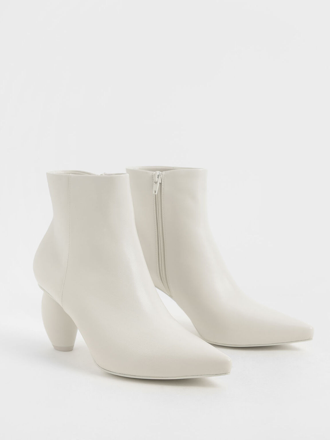 Sculptural Heel Ankle Boots, Chalk, hi-res