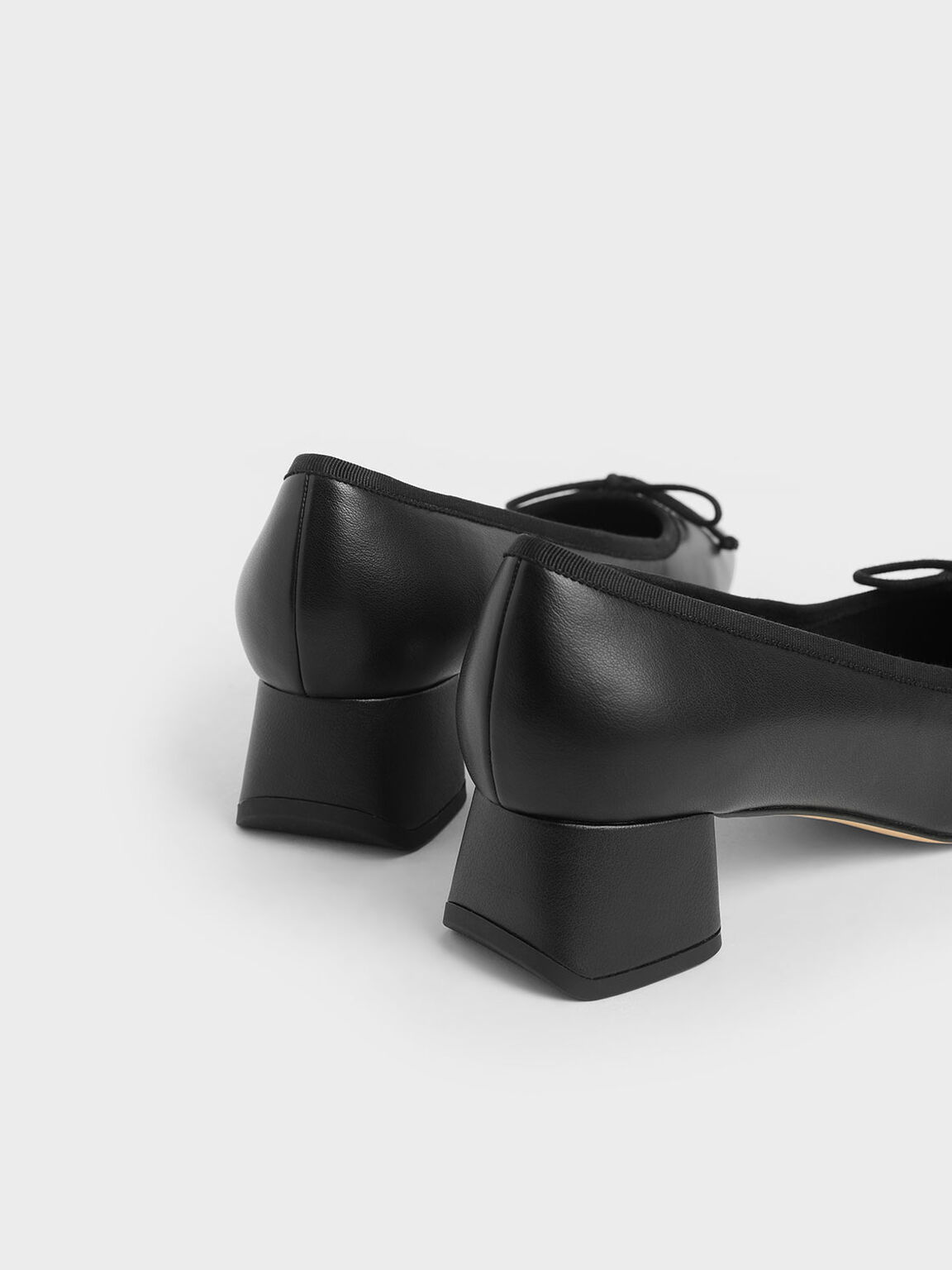 Bow Block Heel Pumps, Black, hi-res