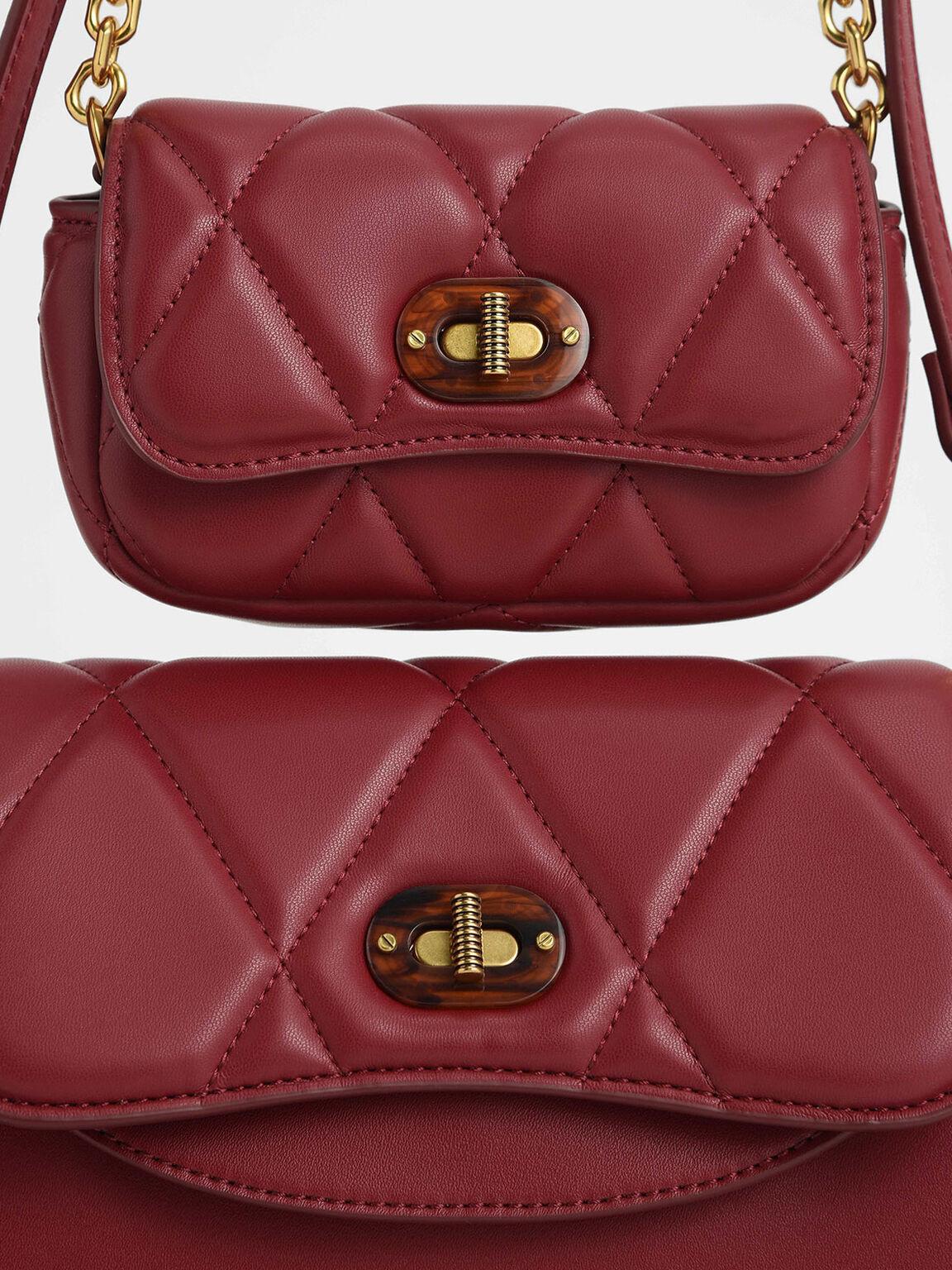 Padded Double Pocket Shoulder Bag, Red, hi-res