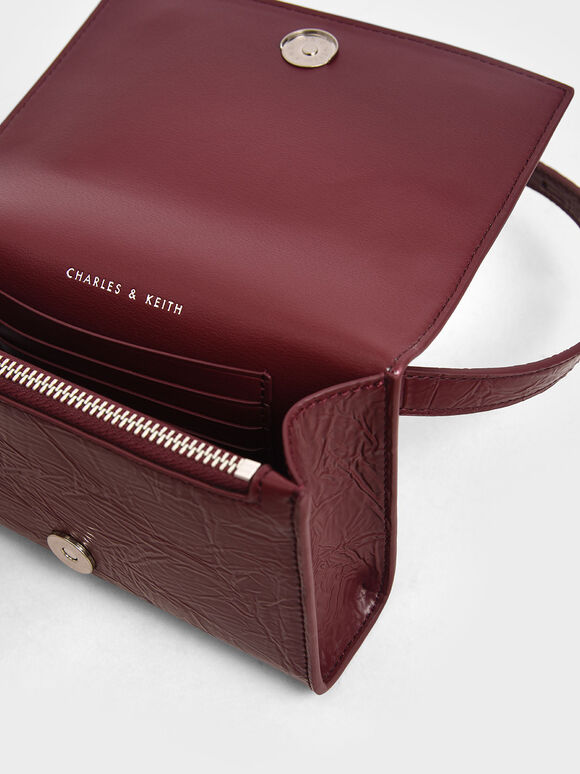 Wrinkled Effect Mini Rectangle Crossbody Bag, Burgundy, hi-res