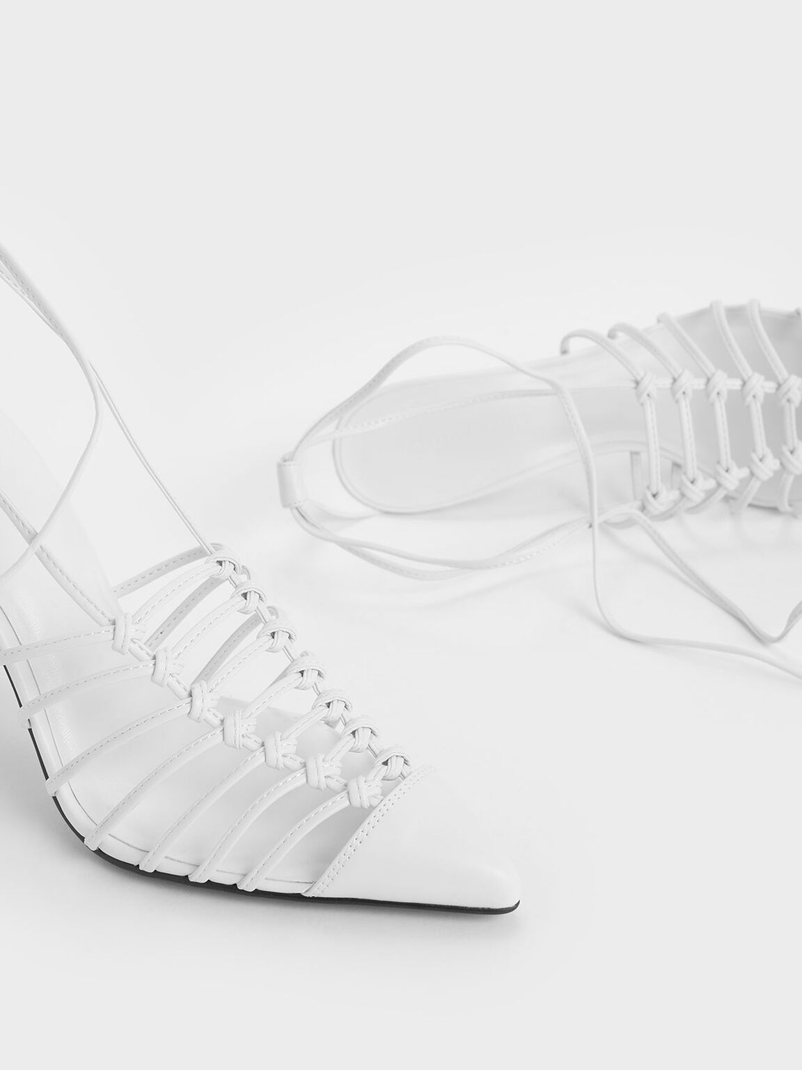 Lace Up Heels, White, hi-res