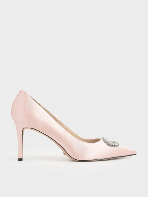Wedding Collection: Satin Embellished Pumps, Pink, hi-res