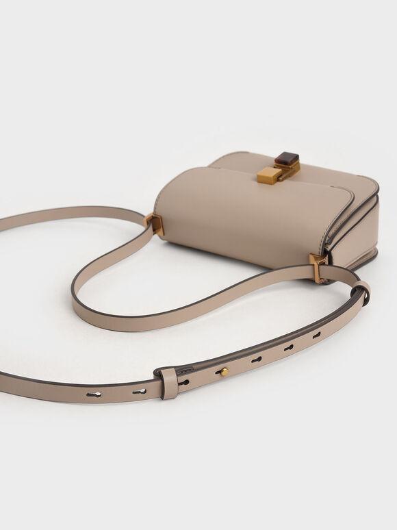 Stone-Embellished Crossbody Bag, Taupe, hi-res