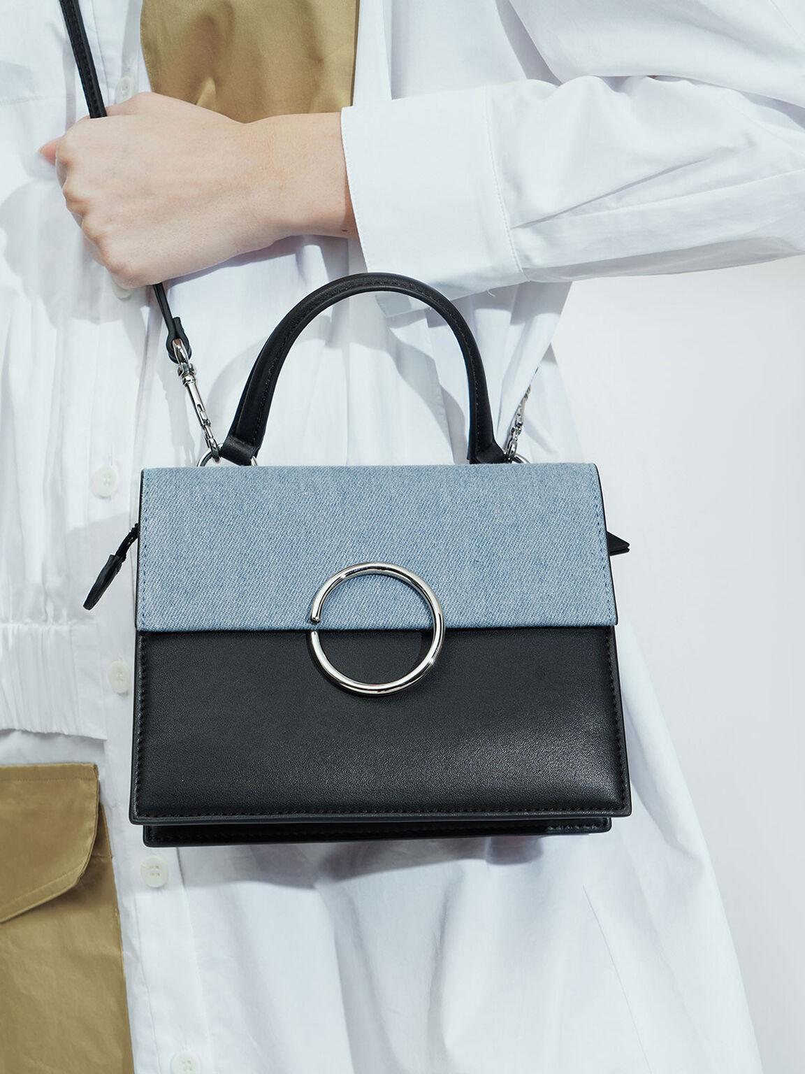 Textured Ring Detail Top Handle Bag, Denim Blue, hi-res