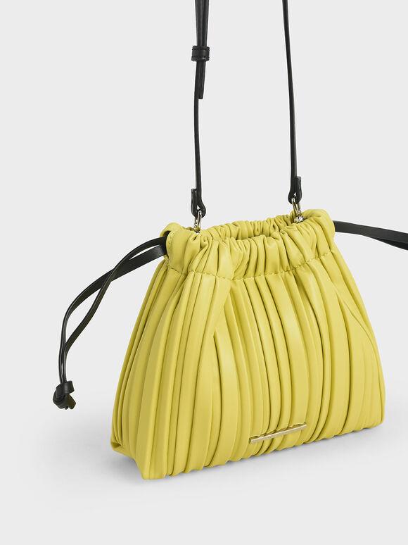 Pleated Drawstring Bag, Yellow, hi-res