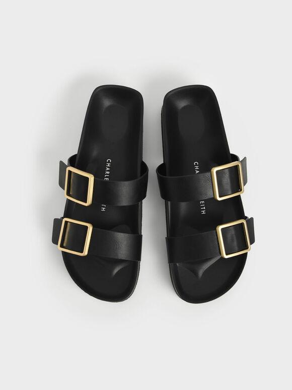 Buckle Strap Slide Sandals, Black, hi-res