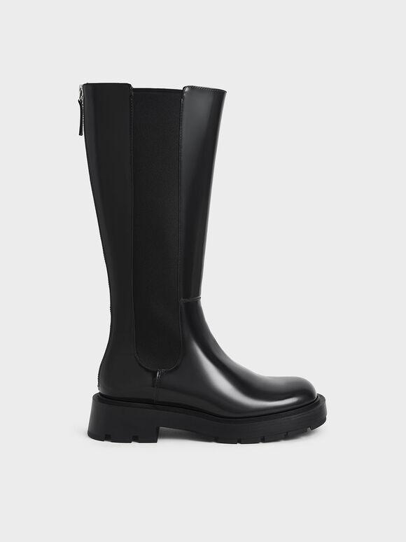 Zip-Up Chelsea Knee Boots, Black, hi-res