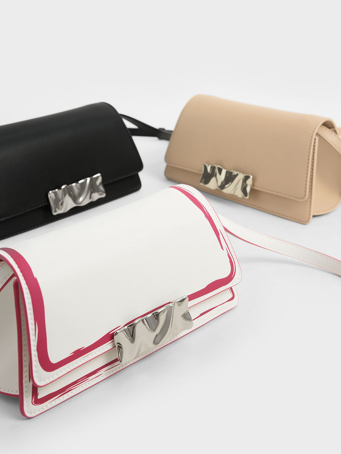 Metal Accent Shoulder Bag, Beige, hi-res