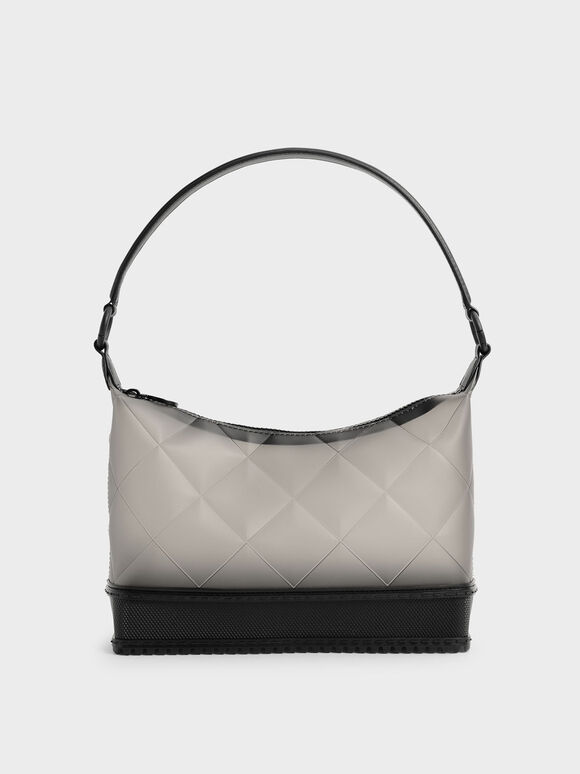 Graphic Handle Quilted Shoulder Bag, Black, hi-res