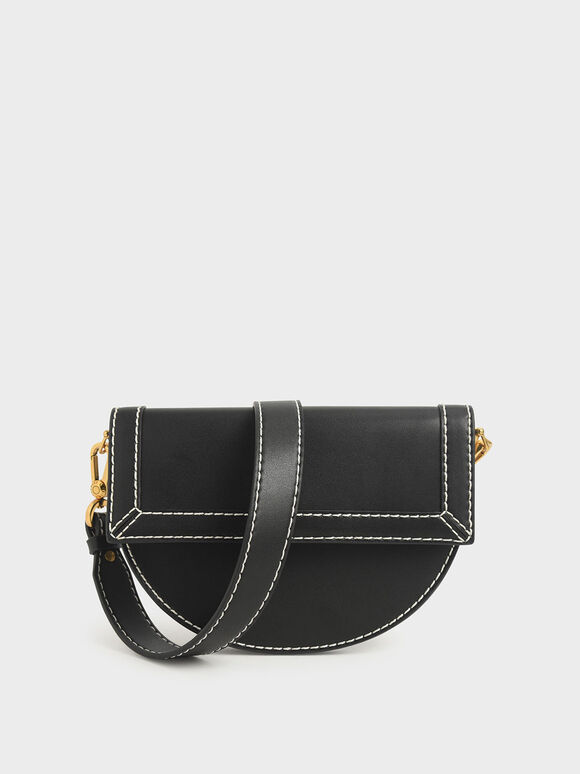 Front Flap Semi-Circle Crossbody Bag, Black, hi-res