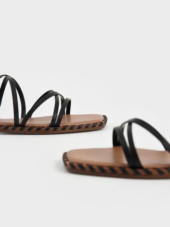 Whipstitch Trim Strappy Sandals, Black, hi-res