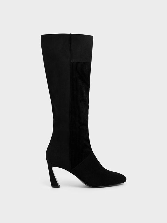 Corduroy Sculptural Heel Knee High Boots, Black, hi-res