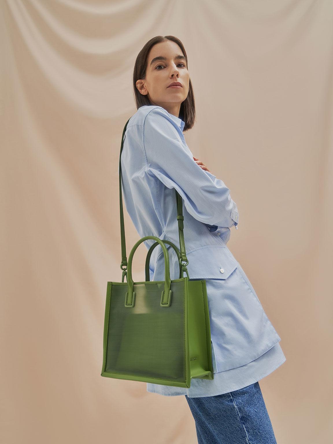 Mesh Double Handle Tote Bag, Green, hi-res