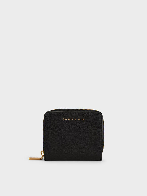 Small Zip-Around Wallet, Black, hi-res