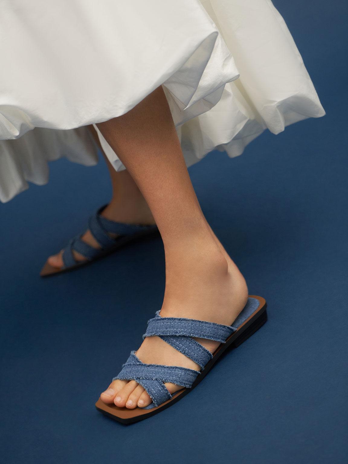 Textured Crossover Flats, Blue, hi-res