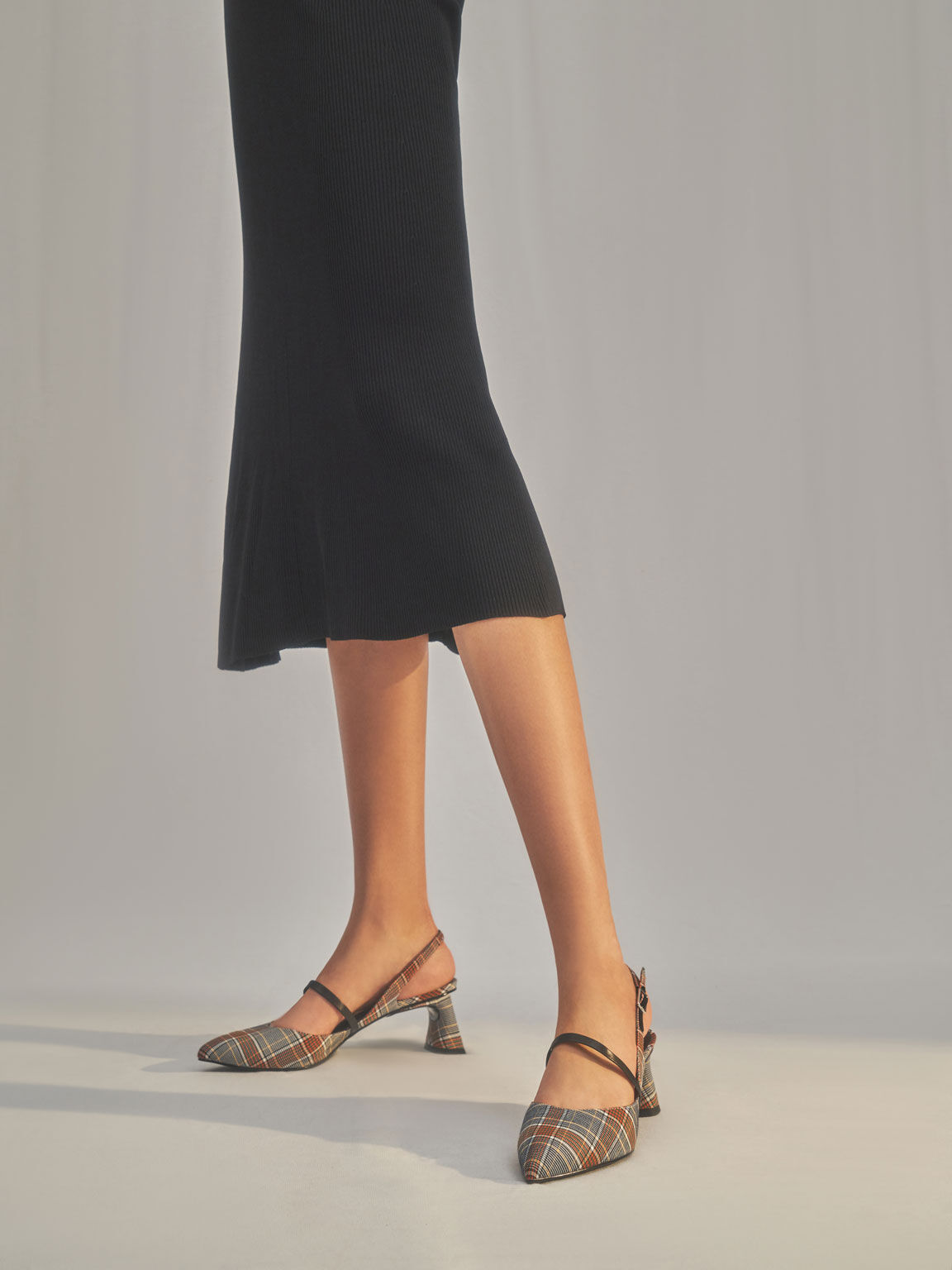 Check Print Sculptural Heel Slingback Mary Janes, Grey, hi-res