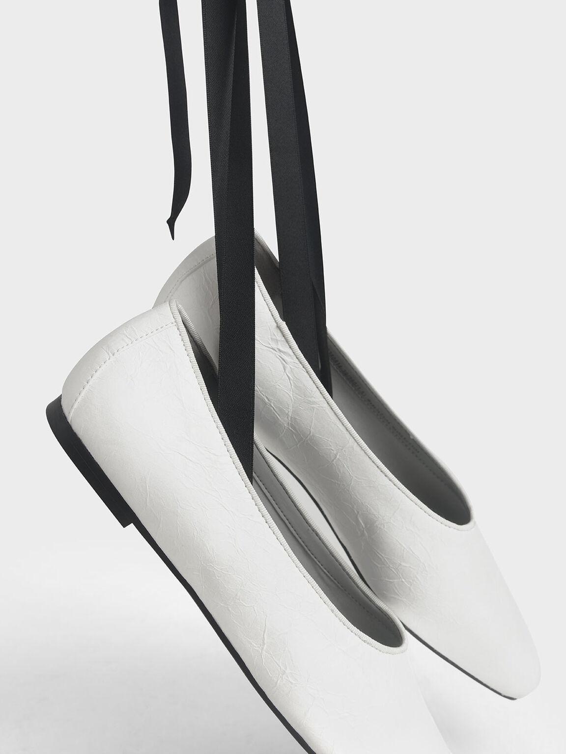Ankle Tie Ballerina Flats, White, hi-res