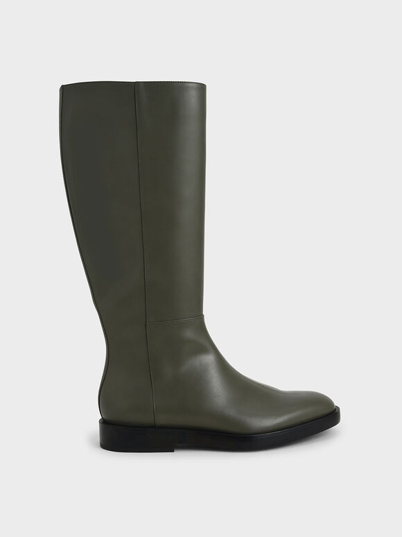 Side Zip Knee High Boots, Military Green, hi-res
