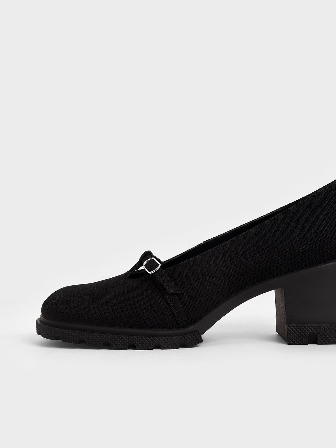 Canvas Chunky Mary Jane Pumps, Black, hi-res