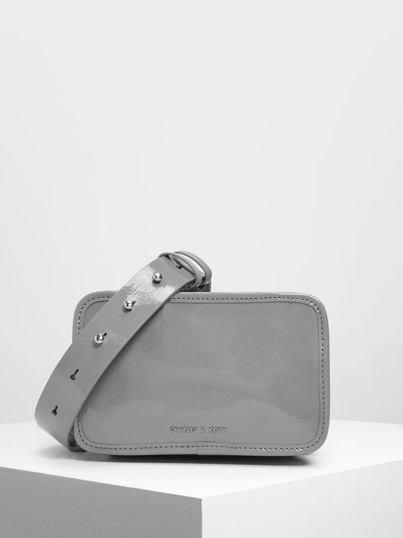 Top Zip Crossbody Bag, Grey, hi-res