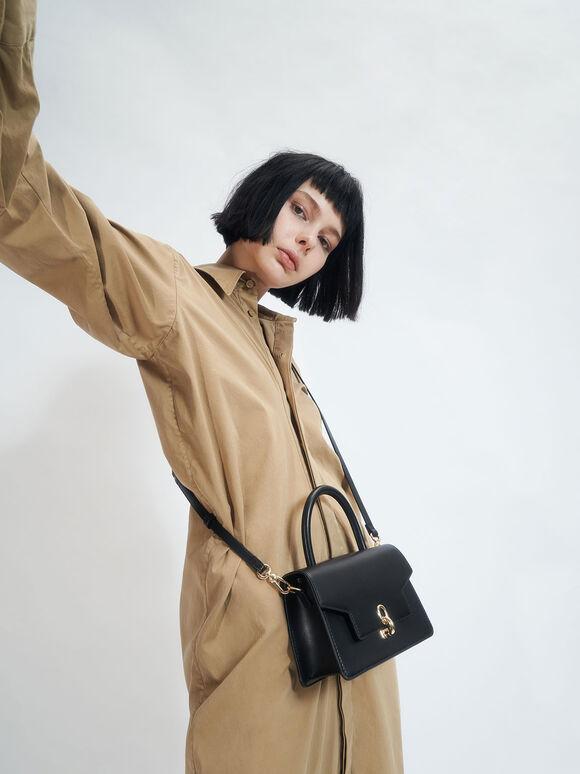 Leather Metallic Turn-Lock Bag, Black, hi-res