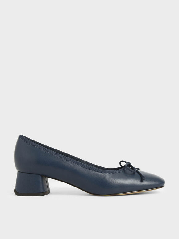 Bow Block Heel Pumps, Dark Blue, hi-res