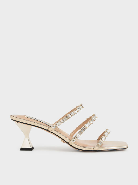 Wedding Collection: Gem-Encrusted Metallic Strappy Sandals, Gold, hi-res