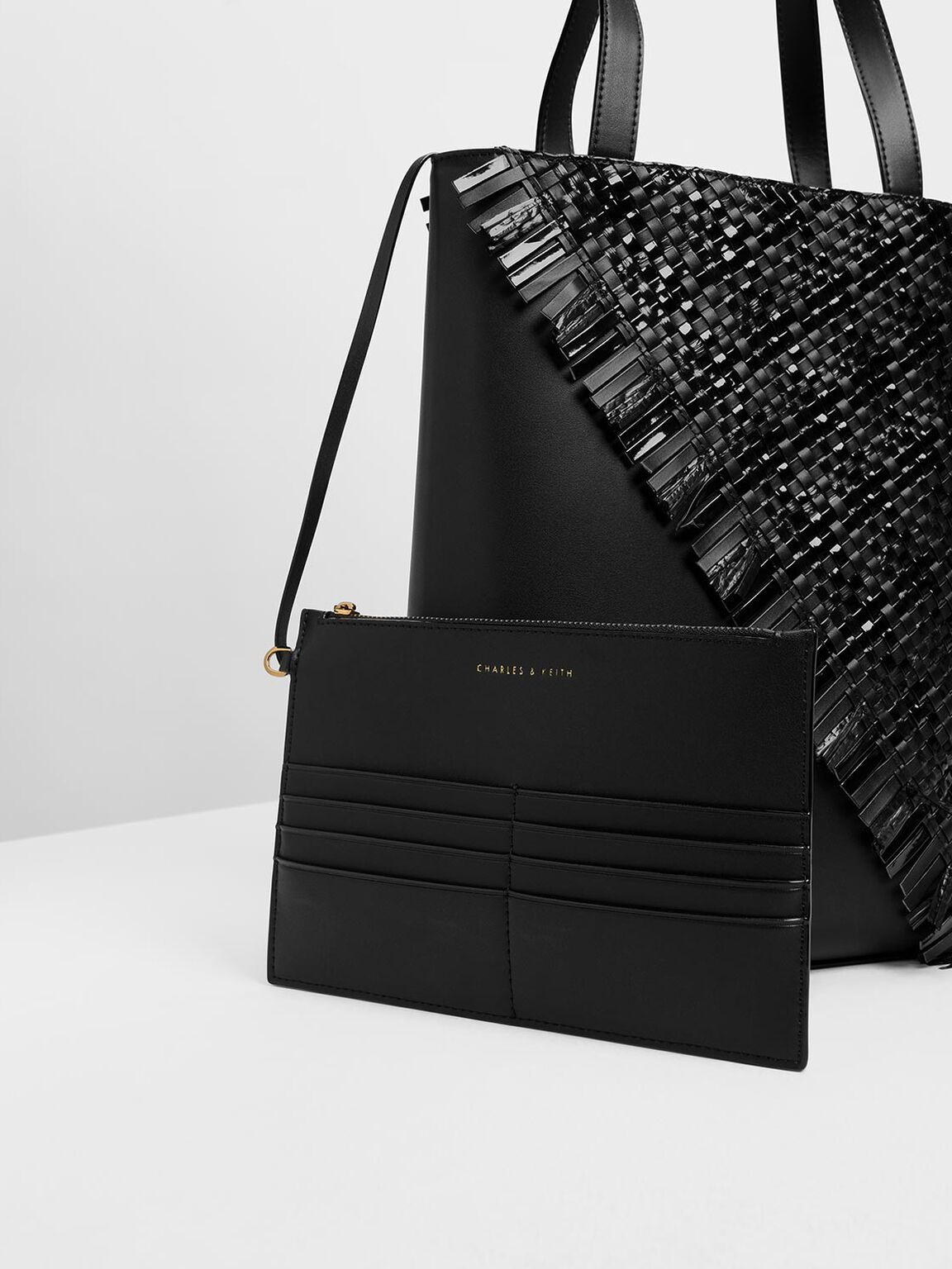 Woven Tote Bag, Black, hi-res