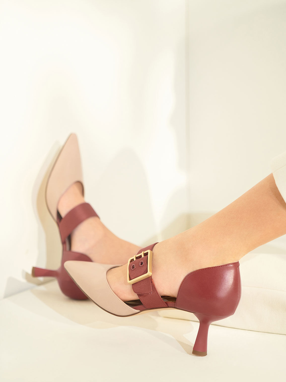 Oversized Buckle Pointed Toe Pumps, Brick, hi-res