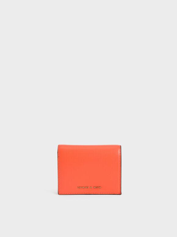 Snap Button Mini Short Wallet, Orange, hi-res
