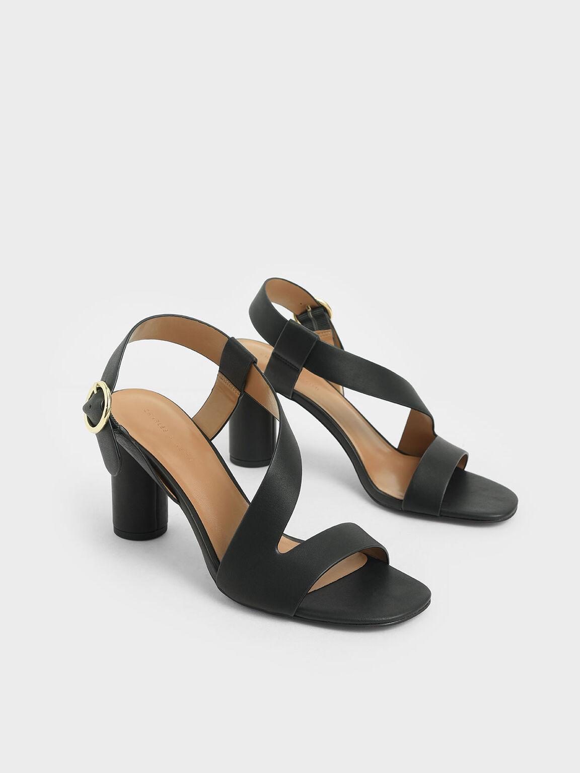 Asymmetric Strap Heeled Sandals, Black, hi-res