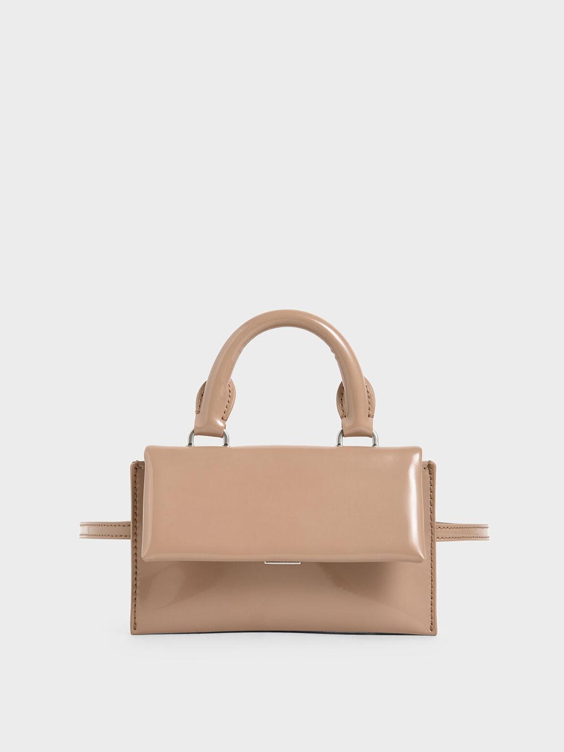 Patent Belt Bag, Beige, hi-res