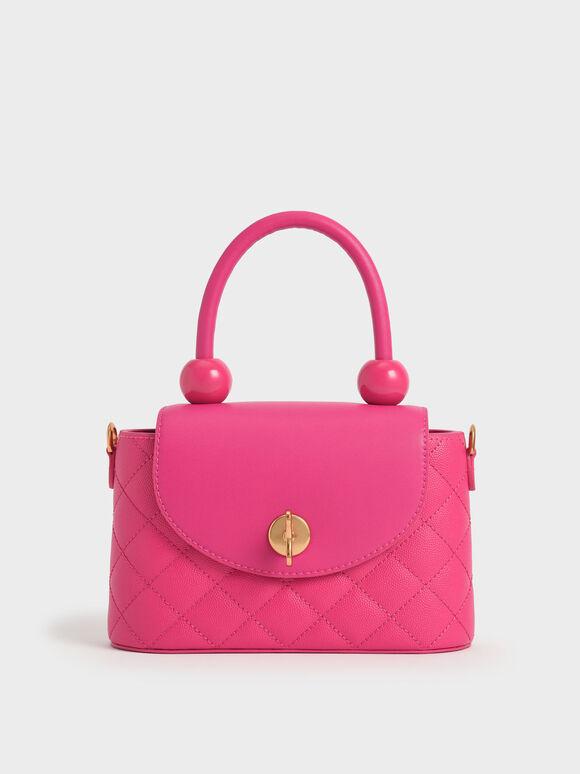 Top Handle Circle Bag, Fuchsia, hi-res