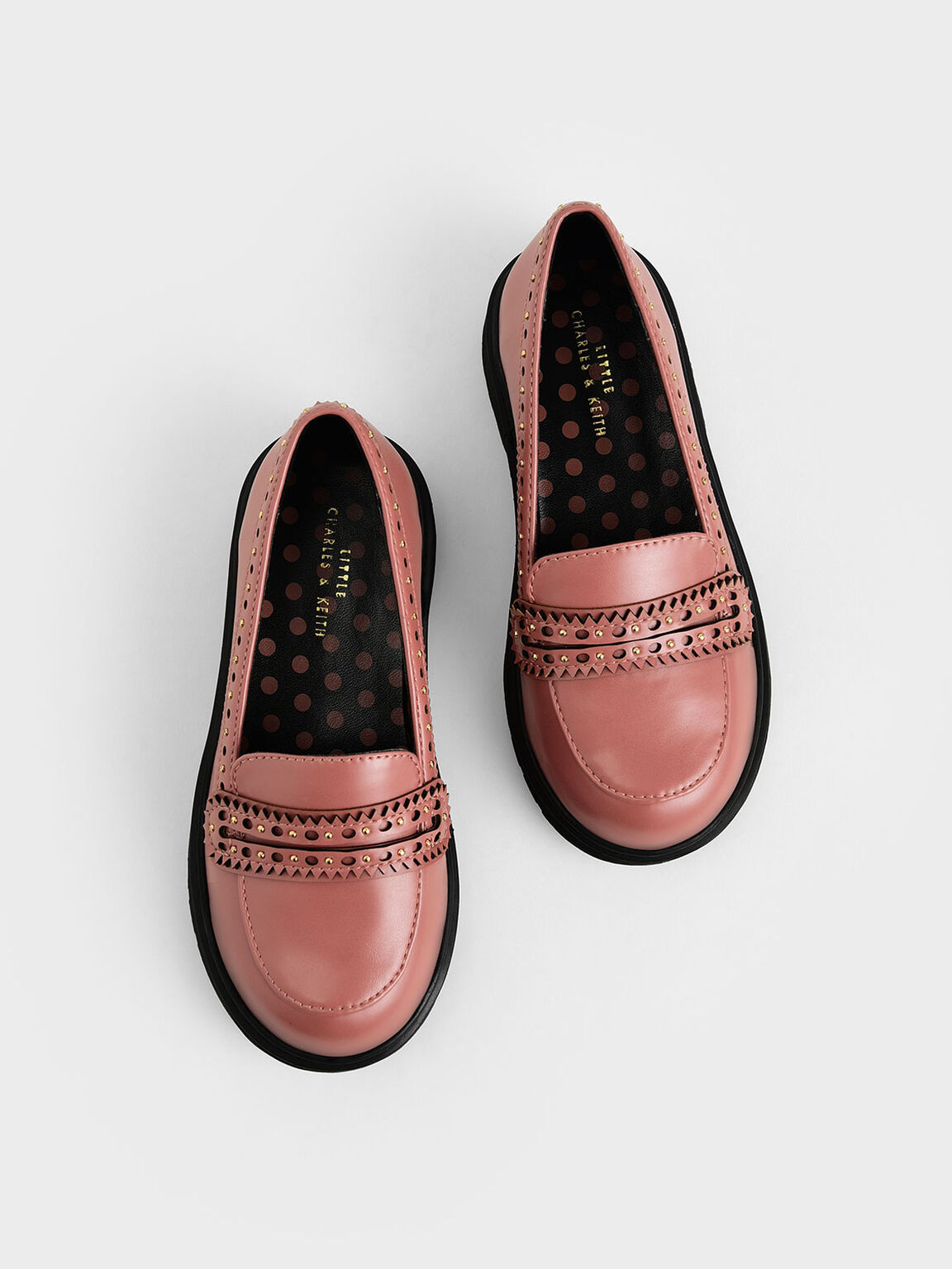 Girls' Studded Penny Loafers, Pink, hi-res