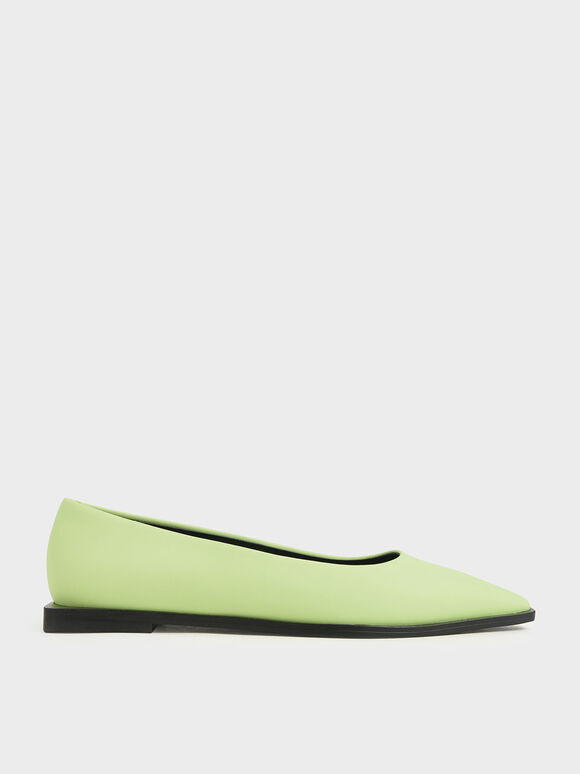 Two-Tone Pointed Toe Ballerina Flats, Yellow, hi-res