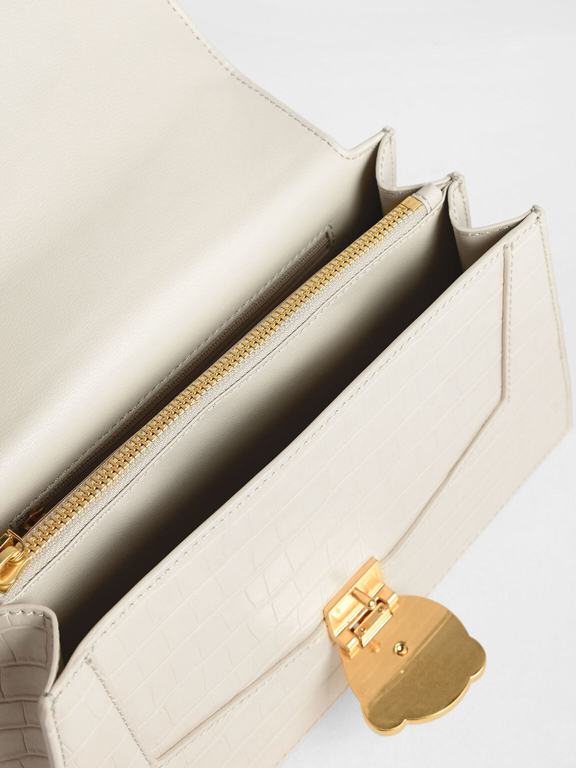 Satin Top Handle Croc-Effect Shoulder Bag, Cream, hi-res