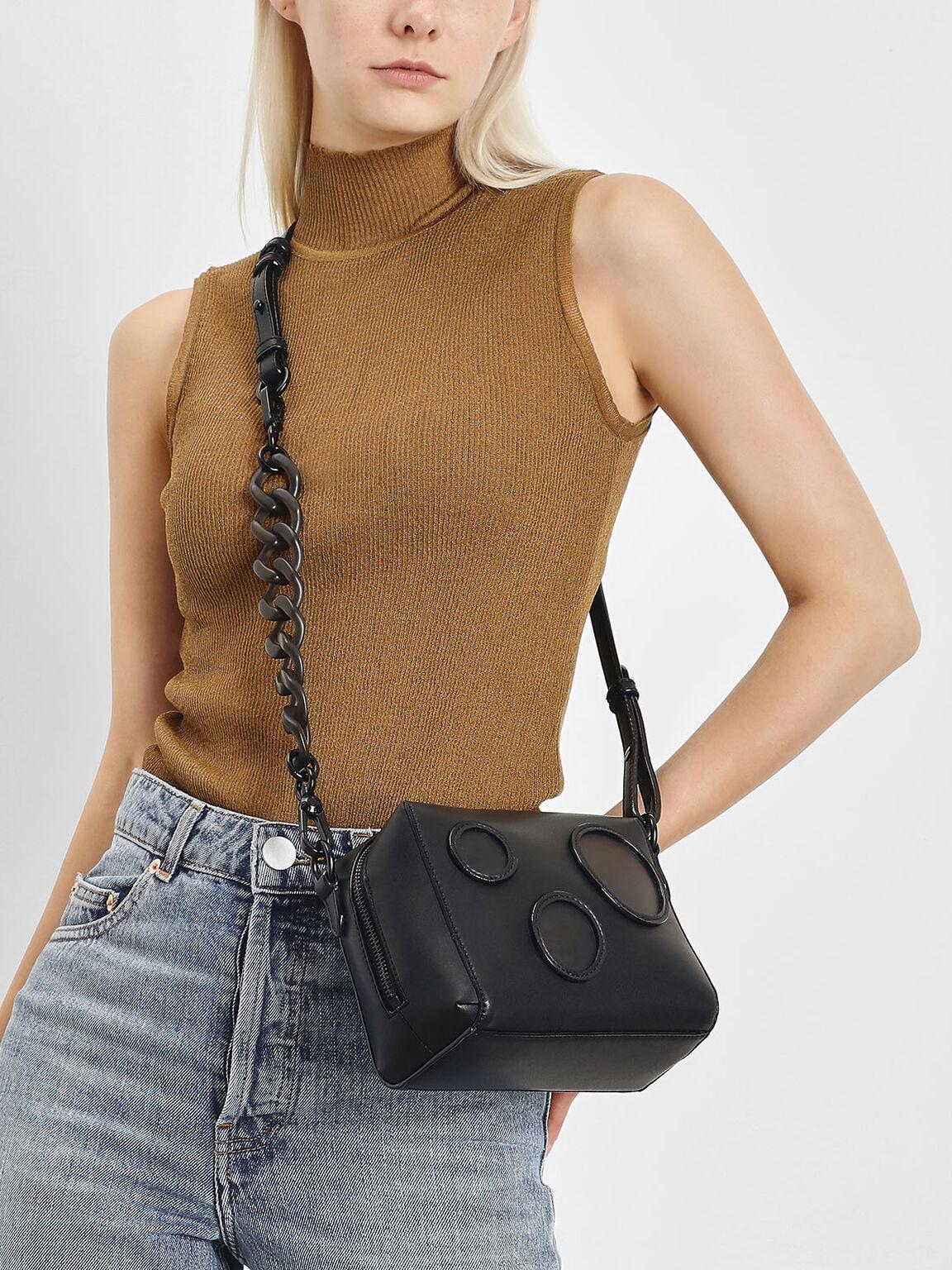 Bubble Detail Crossbody Bag, Black, hi-res