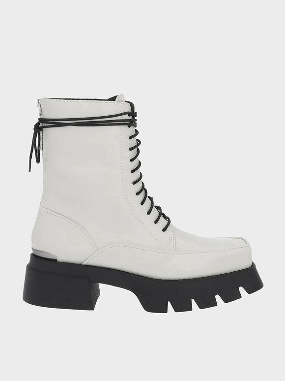 Lace-Up Platform Calf Boots, Chalk, hi-res