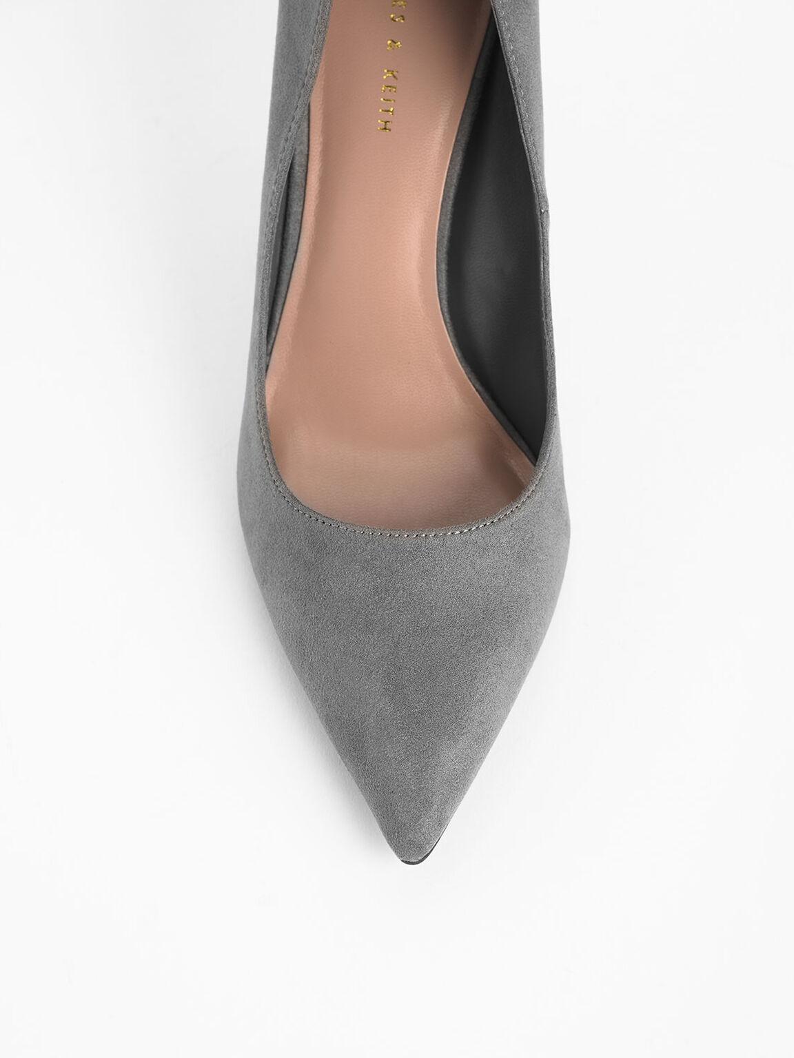 Classic Textured Pointed Toe Pumps, Grey, hi-res