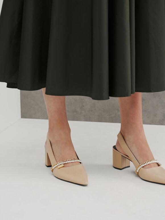 Embellished Slingback Court Shoes, Beige, hi-res